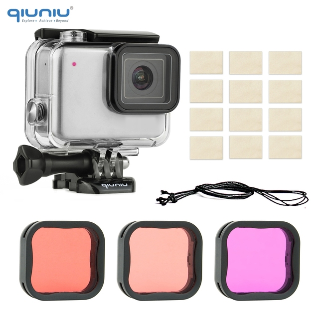 QIUNIU 40m Underwater Diving Waterproof Housing Case + Dive Lens Filter Kit for GoPro Hero 7 Silver/White for Go Pro 7 Accessory