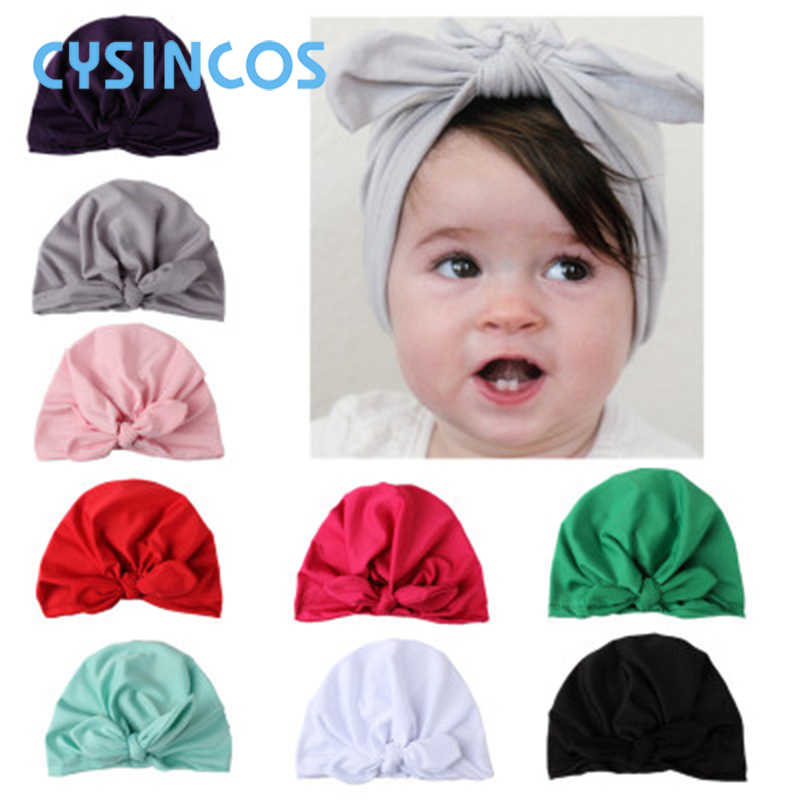 Cute Baby Big Tied Knot Hat Solid Cotton Soft Turban Beanies Girl Summer Autumn Hat Kids Newborn Cap Baby Girls Photograph Props