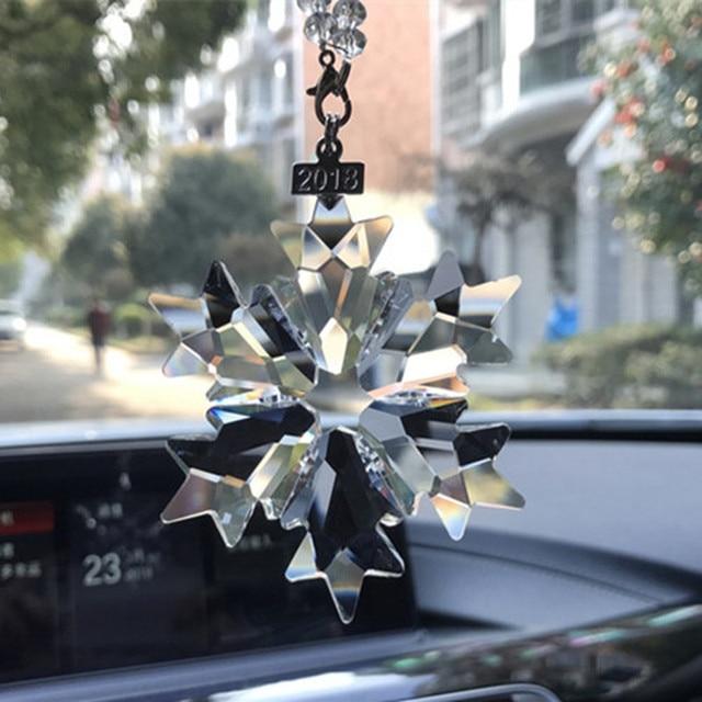 Acessórios carro pendurado cristal transparente decoração do carro acessórios do carro ornamento do natal para meninas
