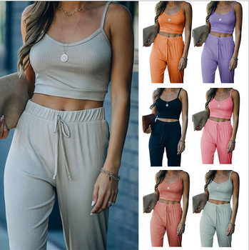 2021 Spring / Summer  Woman Solid Color Suspender Knitted Sports Casual Pants Set 1