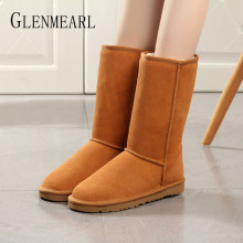 Get more info on the Women Snow Boots 100% Genuine Cowhide Leather Ankle Boots Warm Winter Boots Woman Shoes Platform Classic Large Size 2019 New DE