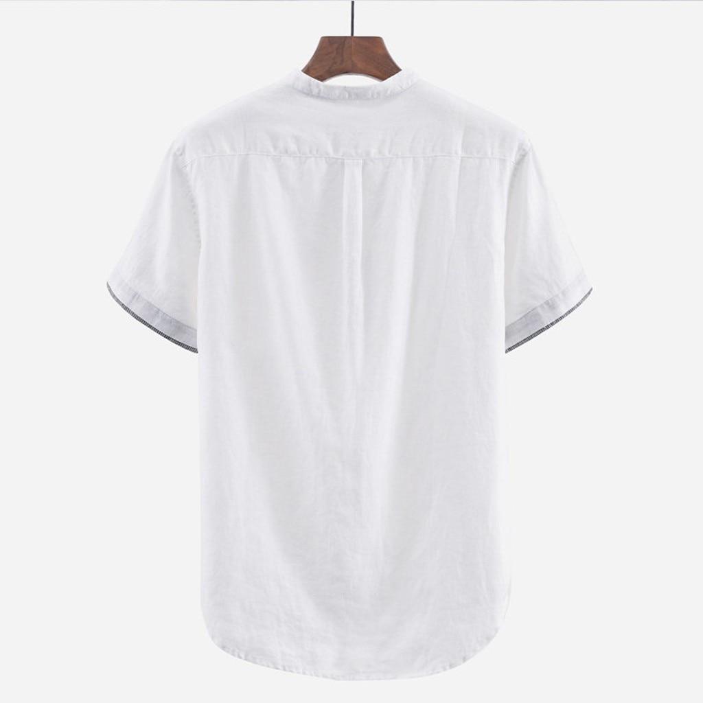 Men's Shirts Baggy Solid Cotton Linen Short Sleeve Button Plus Size Shirt Tops Male Tee Shirt Homme Camiseta Masculina Men Men's Clothings Men's Shirts Men's Tops cb5feb1b7314637725a2e7: black Khaki White