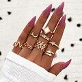 Modyle Neue Vintage Punk Gold Farbe Kristall Ring Set für Frauen Mode Retro Antike Finger Ring Partei Schmuck Geschenke
