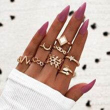 Modyle novo vintage punk ouro cor anel de cristal conjunto para as mulheres moda retro antigo dedo anel festa jóias presentes