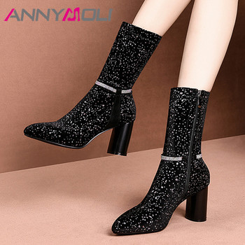 ANNYMOLI Winter Mid Calf Boots Women Luxury Mixed Colors Round High Heel Elastic Boots Zipper Pointed Toe Shoes Lady Size 34-39