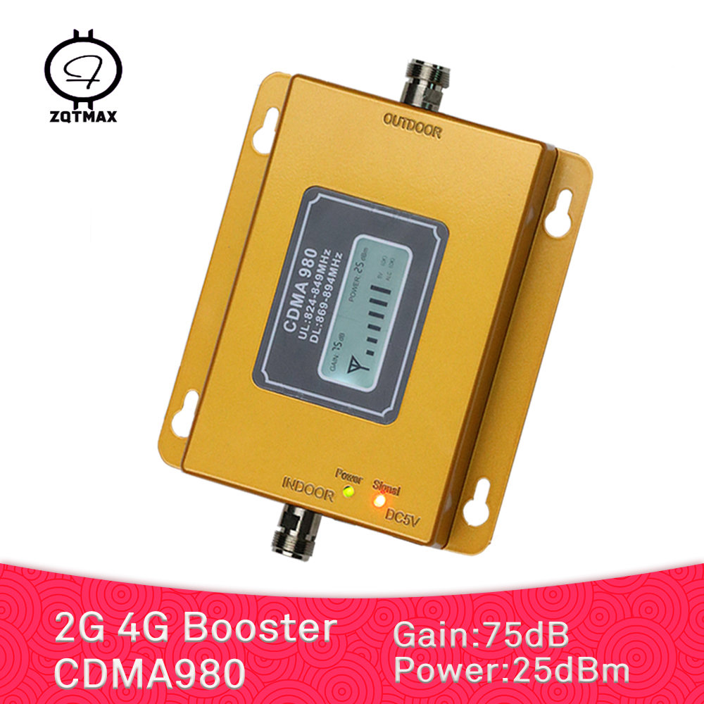 ZQTMAX 2G 4G Cell Phone Signal Booster 850 MHz Lte Cellular Amplifier GSM Mobile Repeater With High Gain 75dB