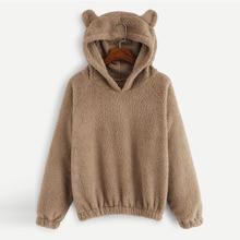 Women Casual Sweatshirts Solid Fleece Hoodie Autumn Winter Plush Warm Pullovers