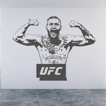 Conor Mcgregor UFC Champion Vinyl Wall Decal Fighter Waterproof Wall Stickers Kids Room Bedroom Decoration Art Mural PosterHL18 7