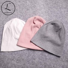 Casual Autumn Winter Women Cotton Striped Hats Soft Slouchy Skullies Be
