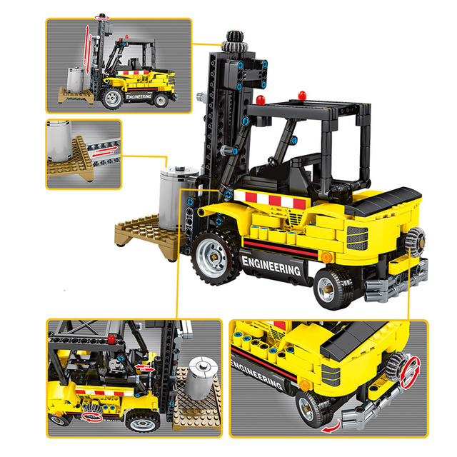 NEW City Diy Engineering Car Forklift Building Blocks Technic Truck Excavator Construction Vehicle Bricks Toys for Kids