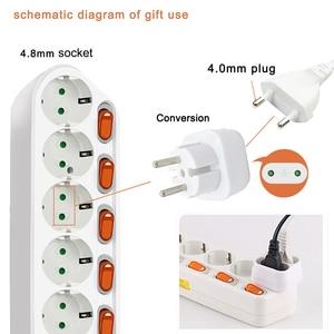 Image 3 - 6AC Output Electronic Socket EU power adaptor Plug Extension Smart Socket  1.5M 2.5M 16A 3500W Separate control switch socket