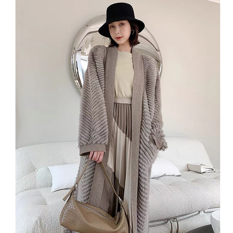 HDHOHR 2021 New High Quality Natural Mink Fur Coat Women With Belt Knitted Real MinkFur Jacket HDHOHR 2021 New High Quality Natural Mink Fur Coat Women With Belt Knitted Real MinkFur Jacket Fashion Warm Long For Female