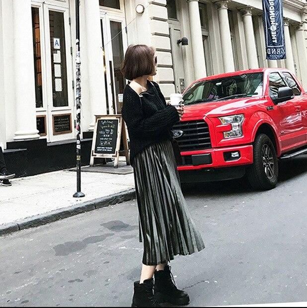 [Official Figure] Korean-style Pleated Skirt Fashion High-waisted Long Skirts Slim Fit Slimming Gold Velvet Big Hemline