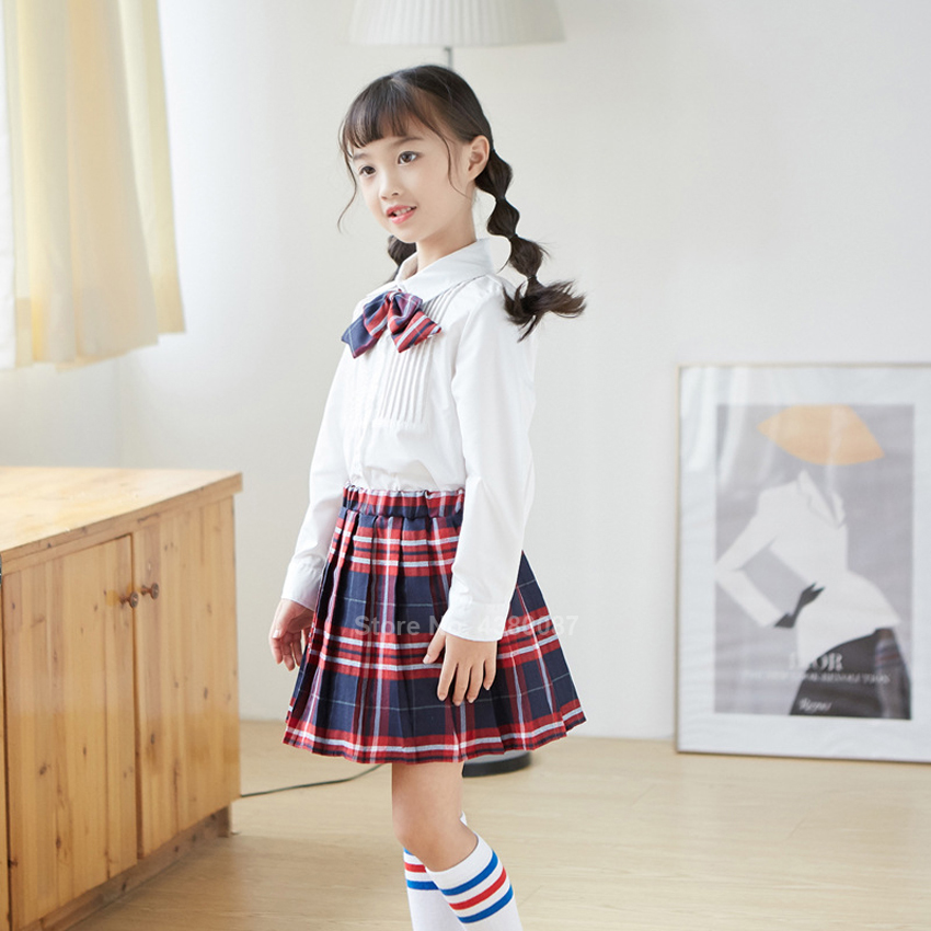 Girls School Uniform Japanese Korean Style Student JK Suit Chidren Long Sleeve Pleated Plaid Skirt Choir Clothing Stage Costume