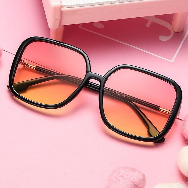 2019 Oversized Metal edge Sunglasses Fashion Women Vintage Brand Designer Uv400 Square Sun Glasses Gafas De Sol Hombre