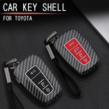 Obudowa kluczyka z włókna węglowego Smart for TOYOTA stylizacja samochodu z włókna węglowego zdalny inteligentny klucz obudowa kluczyka pokrywa ABS błyszcząca odporna na zarysowania zmodyfikowane elementy