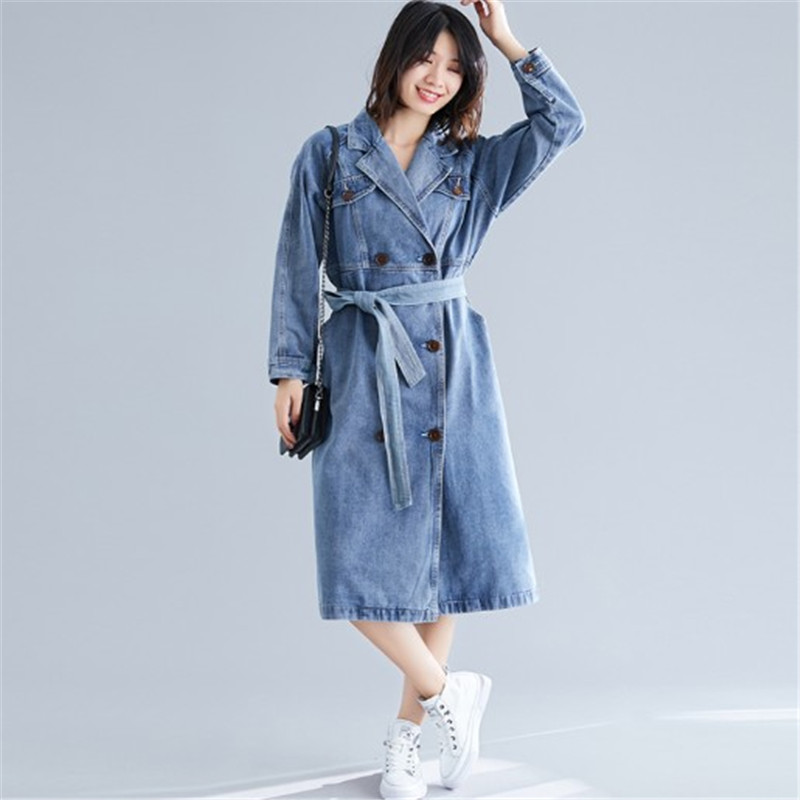 Vintage Loose Long Denim   Trench   Coat With Belt Female Elegant Turn-down Collar Double Breasted Jeans Windbreaker Outwear DS50946