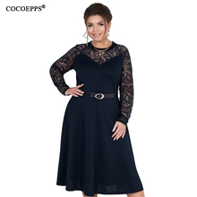 5xl 6xl plus size lace dress patchwork big A-line evening long dresses 2019 Winter party night large women