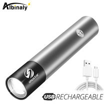 USB Rechargable Mini LED Flashlight 3 Lighting Mode Waterproof Torch Telescopic Zoom Stylish Portable Suit for Night Lighting cheap Albinaly 2-4 files Aluminum Alloy High Low Hard Light Adjustable Rechargeable S-211 14500 USB Charging Other Flashlights