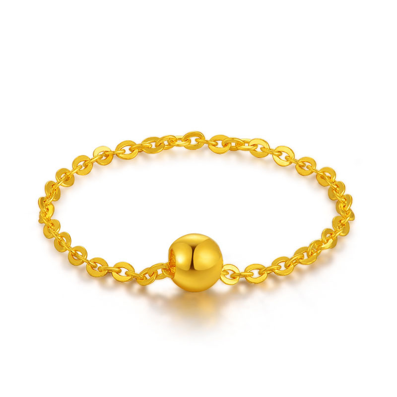 Lucky Ball 18K Real True Yellow Rose Solid Gold Link Chain Ring For Women Female Girlfriend Fancy Upscale Trendy Fine Jewelry