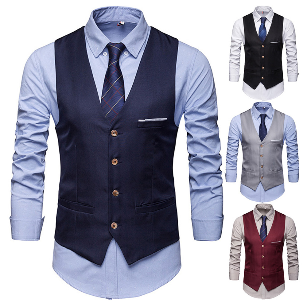 Men Formal Business Dress Vest Wedding Double Breasted Classic Waist Coat M-2XL New Fashion
