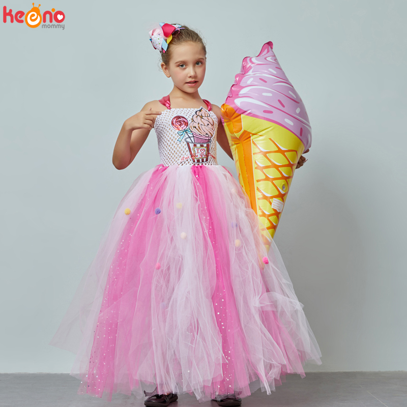 Glittering Girls Ice Cream Gown Tutu Dress With Hair Bows Kids Candy Wedding Birthday Party Costume Girls Candy Land Tulle Dress