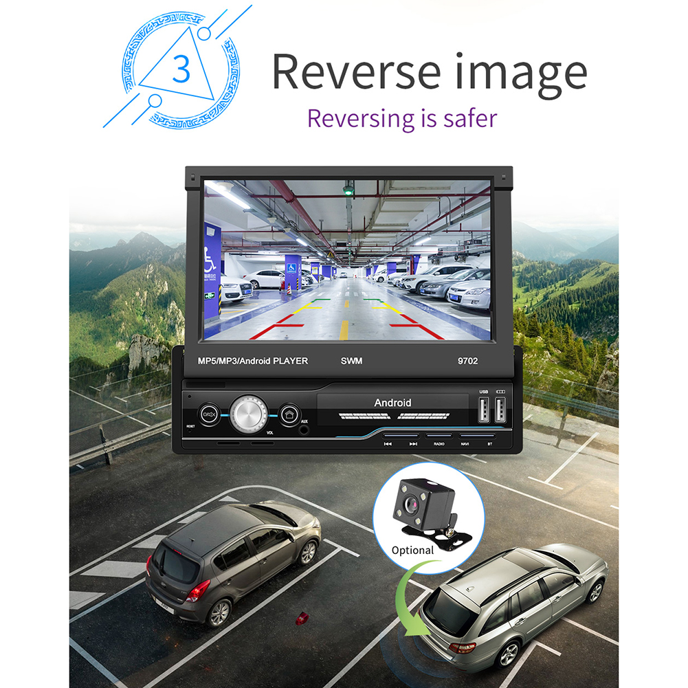 7 Inch Auto Radio Android 8.1 Gps Navigatie Wifi Usb Opladen 1 Din Hd Touch Screen Auto MP5 Speler - 5