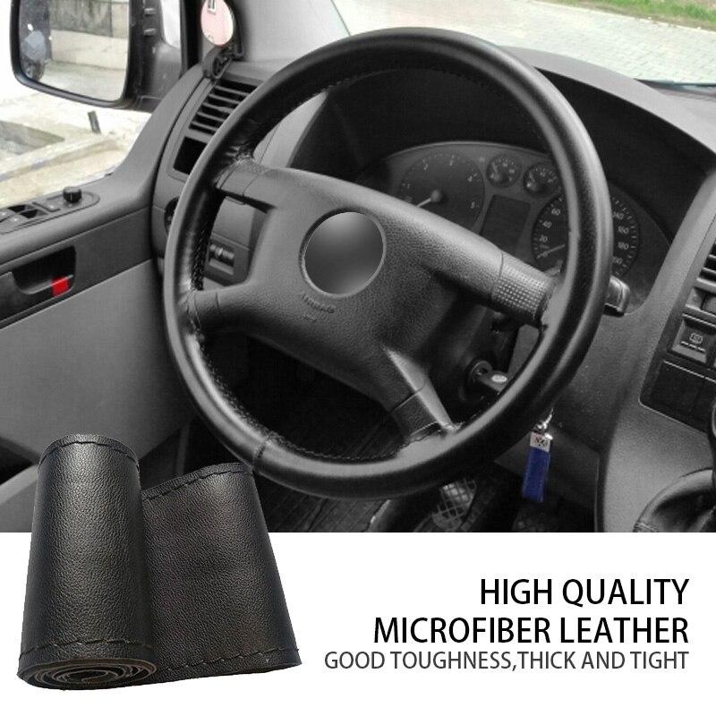 Car Anti Slip Steering Wheel Cover Fiber Leather With Soft Anti Slip Black DIY Braid & Needles Thread Fit For 38cm Diameter|Steering Covers| |  - title=