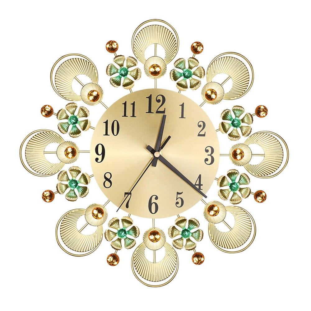 Mute Art Large Wall Clock European Retro Flower Diamond Wrought Iron Wall Clock Creative Mute Wall Clock Living Room Decoration