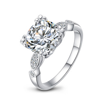 QYI Luxury 925 Silver Ring Ladies Ring Engagement Jewelry 3 Carat Round Cut 5A Zircon Female Wedding Ring