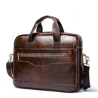 Leather men's Briefcase men laptop male messenger bag Handbag Satchel Portfolio Bussiness Bag