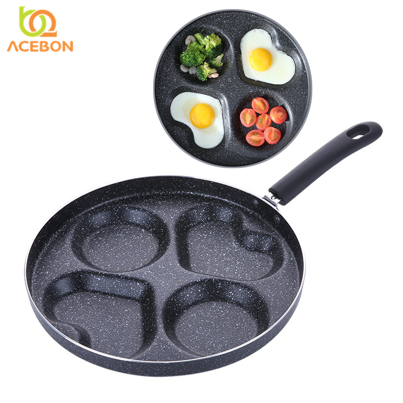 28cm Four-hole Omelet Pan For Eggs Ham PanCake Maker Frying Pans Creative Non-stick No Oil-smoke Breakfast Grill Pan Cooking Pot