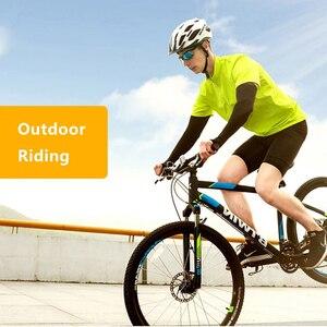 Image 5 - Tessuto di ghiaccio Braccio Maniche Manga Scaldini Sport Estivi UV di Protezione Corsa E Jogging Ciclismo Guida Riflettente Protezione Solare Fasce