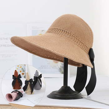 2020 Foldable Summer Beach Straw Hat for Women Brief Sun Hats Sunscreen Chapeu Feminino UV Protection Panama Hat with Bowknot summer straw hat women wide brim beach hat sun hat foldable sun block uv protection panama hat bone chapeu feminino h26