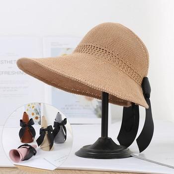 цена на 2020 Foldable Summer Beach Straw Hat for Women Brief Sun Hats Sunscreen Chapeu Feminino UV Protection Panama Hat with Bowknot