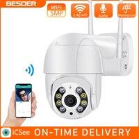 BESDER 5MP PTZ IP Kamera Wifi Outdoor AI Menschlichen Erkennung Audio 1080P Drahtlose Sicherheit CCTV P2P RTSP 4X Digital zoom Wifi Kamera
