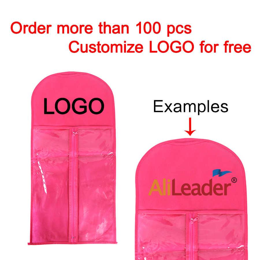 Alileader Beste Qualität Tragbare Perücke Lagerung Tasche Mit Aufhänger Paket Anzug Fall Tasche Für Menschliches Haar/Pferdeschwanz/Clips haar Extensions