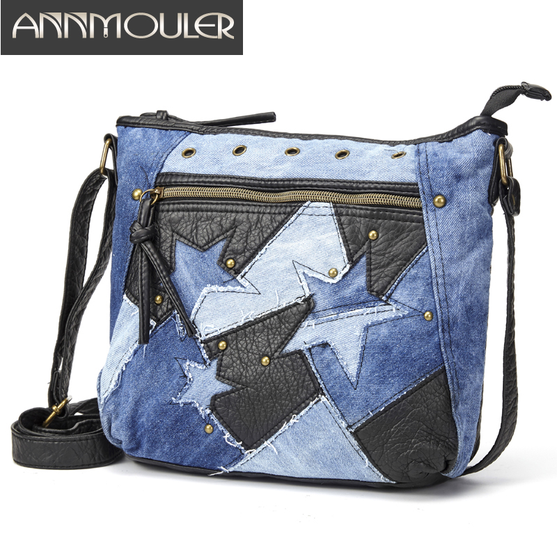 Designer Women Shoulder Bag Fashion Crossbody Bag Pu Leather Handbag Purse Star Patchwork Adjustable Messenger Bag Ladies Totes