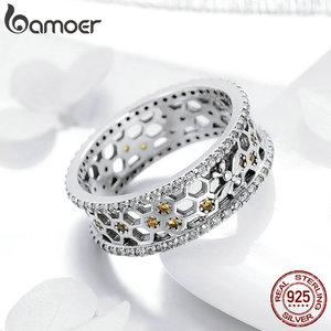 Image 2 - BAMOER מכירה לוהטת 925 סטרלינג כסף מלכת דבורה משושה ברור CZ גדול טבעת לנשים דבורה תכשיטים S925 SCR391