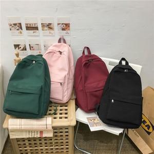 Image 1 - 2020 Backpack Women Backpack Solid Color Women Shoulder Bag Fashion School Bag For Teenage Girl Children School Backpacks Female