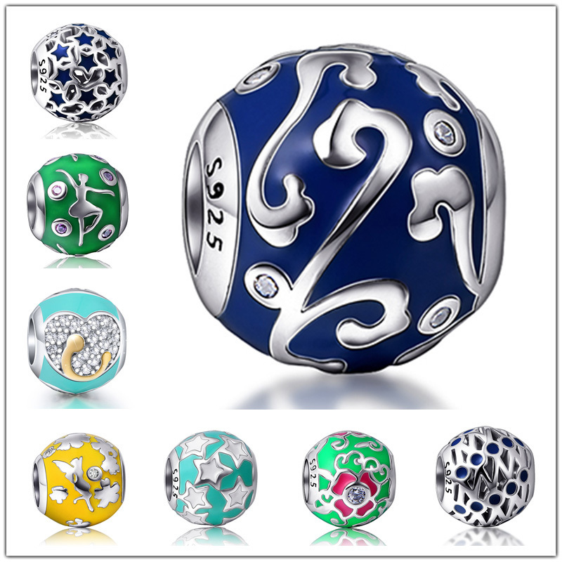 Fit Original Pandora Bracelet Silver 100% 925 color Enamel Charms Beads with Bule CZ DIY Jewelry Making for women Gifts