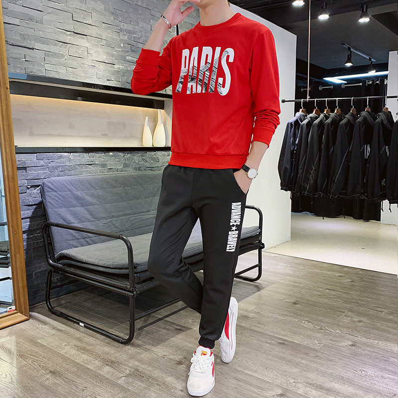 2019 Autumn New Style Leisure Sports Suit Men's Teenager Korean-style Fashion Hoodie Suit Two-Piece Set
