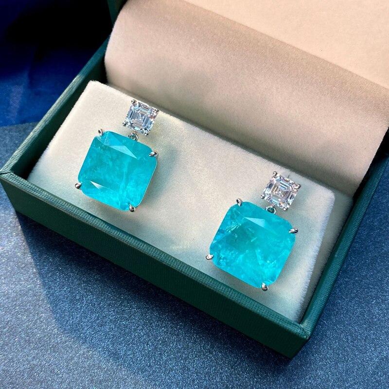 OEVAS Solid 925 Sterling Silver Fashion Paraiba Tourmaline Gemstone Drop Earrings Sparkling High Carbon Diamond Fine Jewelry