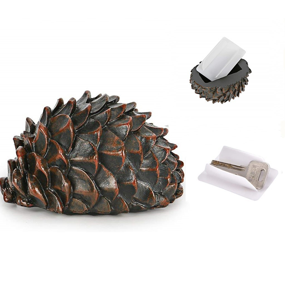 Outdoor Rock Stone Key Hider Storage Box Fake Pinecone Key Holder Safe For Garden Yard Security Safe Storage Hiding Containers