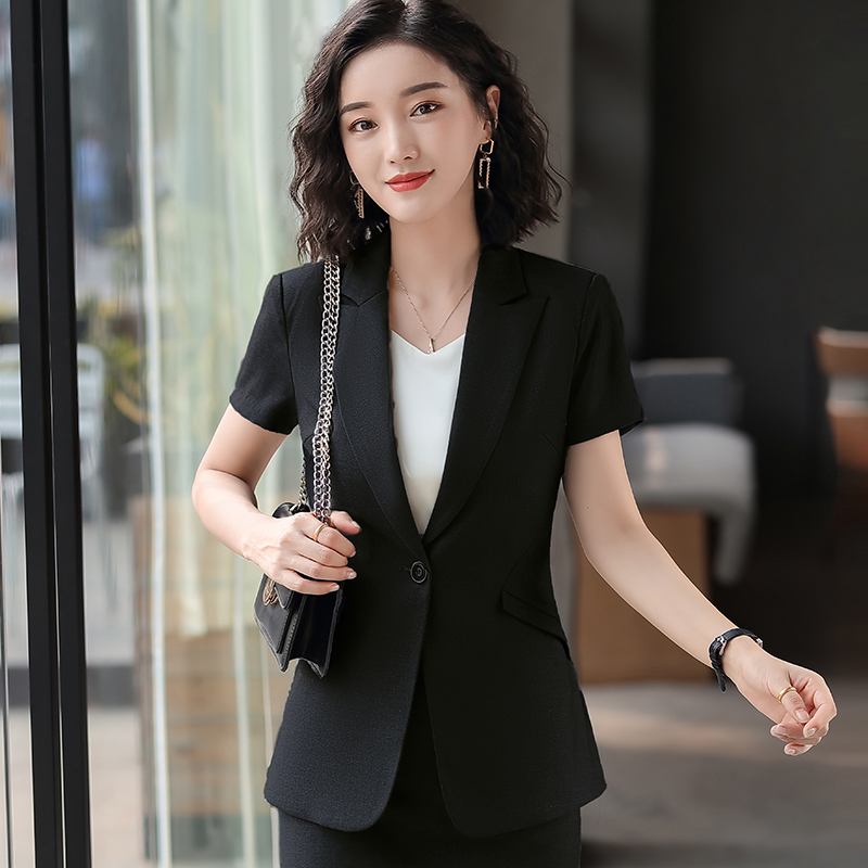 2020 Female Elegant Formal Office Work Wear New 2020 Grey Blazer Women Jackets Short Sleeve Slim Office Ladies Clothes OL Styles