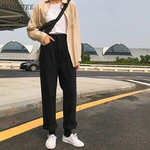 Image 1 - ג ינס נשים Loose גבוה מותן פנאי מלא אורך רחב רגל ז אן כל להתאים קוריאני סגנון פשוט נשים טרנדי harajuku יומי שיק