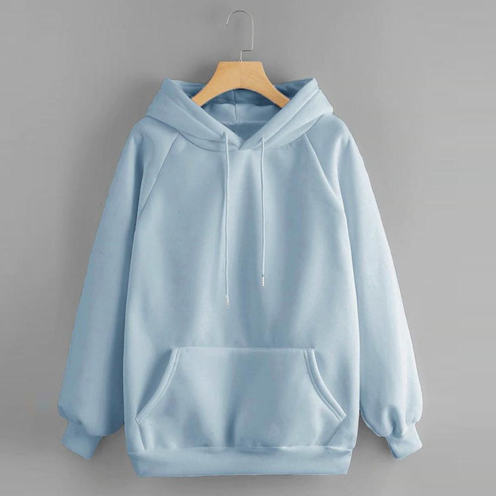 Sweatshirt Women's Hoody Long Sleeve Hoodies Hooded Pullover Tops Blouse With Pocket Soild Sweatshirts For Women Autumn #D7