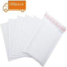 Enveloppe rembourrée en papier Kraft blanc, 100 pièces/lot, sacs de poste, enveloppes à bulles, courrier, fournitures de bureau à fermeture automatique