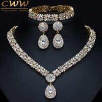 CWWZircons Exklusive Dubai Gold Plate Schmuck Luxus Zirkonia Halskette Ohrring Armband Partei Schmuck-Set für Frauen T053