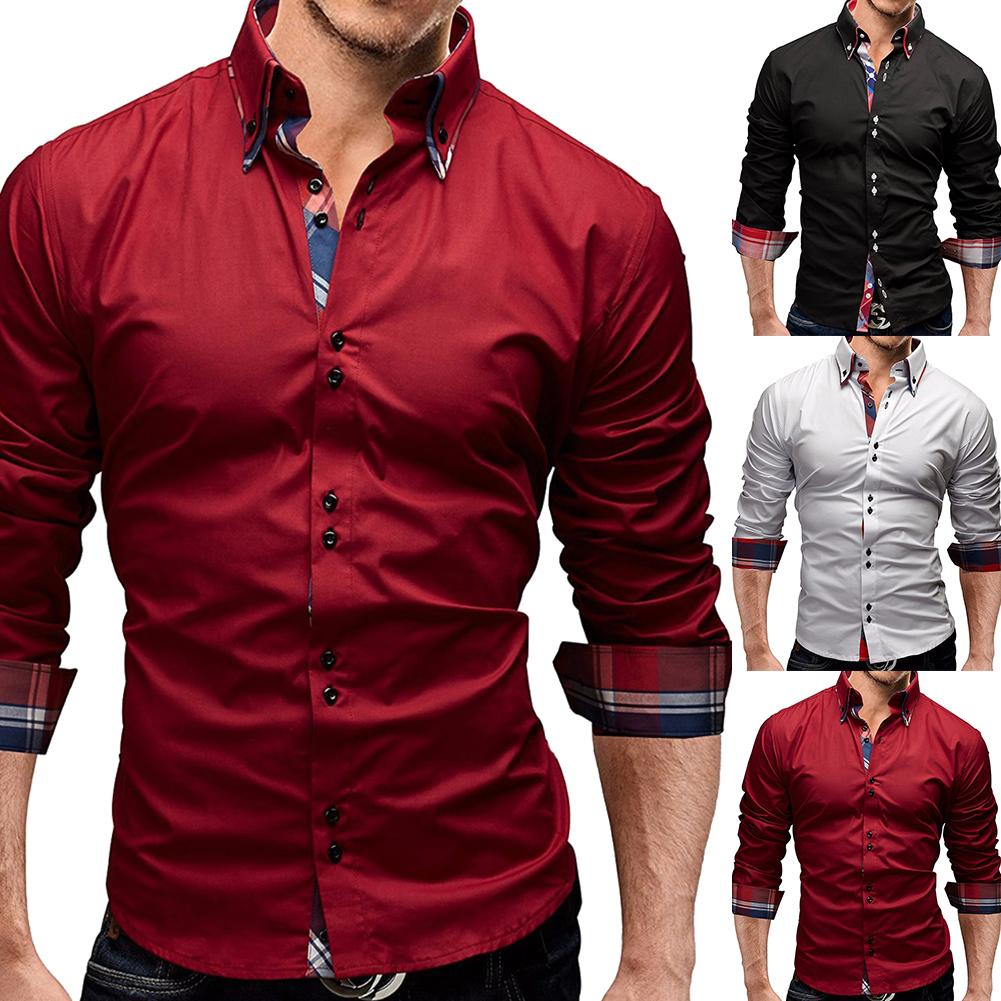 Casual Shirts Men Fashion Long-Sleeved Shirts For Men Plaid Shirt Solid Color Shirt Male Brand Business Casual Clothing